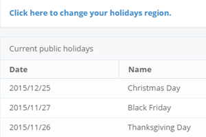 Where can I see the list of holidays? How do public holidays get calculated in the report?