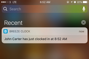 Instant Notifications for Clock In / Out